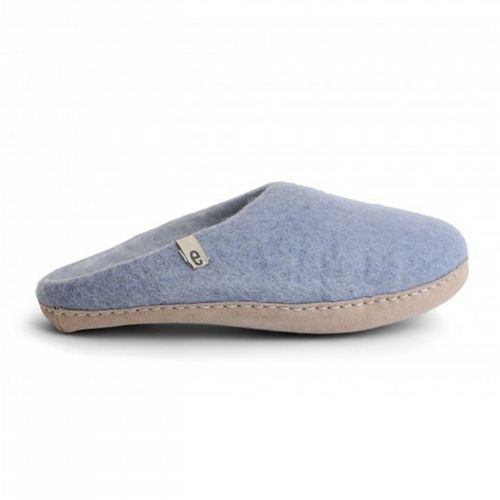 Women's Wool Slippers - Light Blue